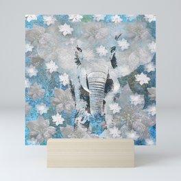 ELEPHANT AND FLOWERS Mini Art Print