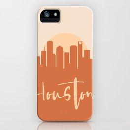 HOUSTON TEXAS CITY SUN SKYLINE EARTH TONES iPhone Case