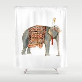 riding elephant shower curtain