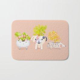Kawaii dog cat hedgehog succulents Bath Mat