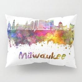 Milwaukee V2  skyline in watercolor Pillow Sham