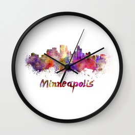 Minneapolis skyline in watercolor Wall Clock