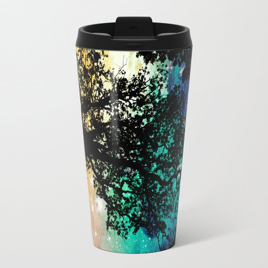 Black Trees Colorful Space Metal Travel Mug