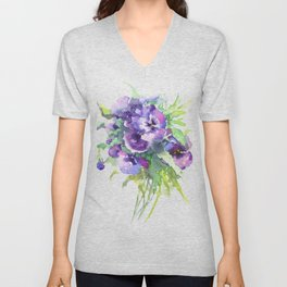 Pansy, flowers, violet flowers, gift for woman design floral vintage style Unisex V-Neck