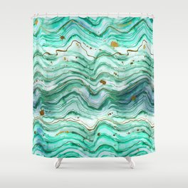Green Geode Watercolor Shower Curtain