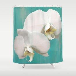 WHITE ORCHIDS - AQUA Shower Curtain