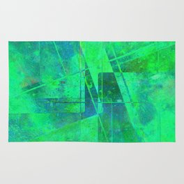 Fading Memories - Abstract green, blue and cyan painting Rug