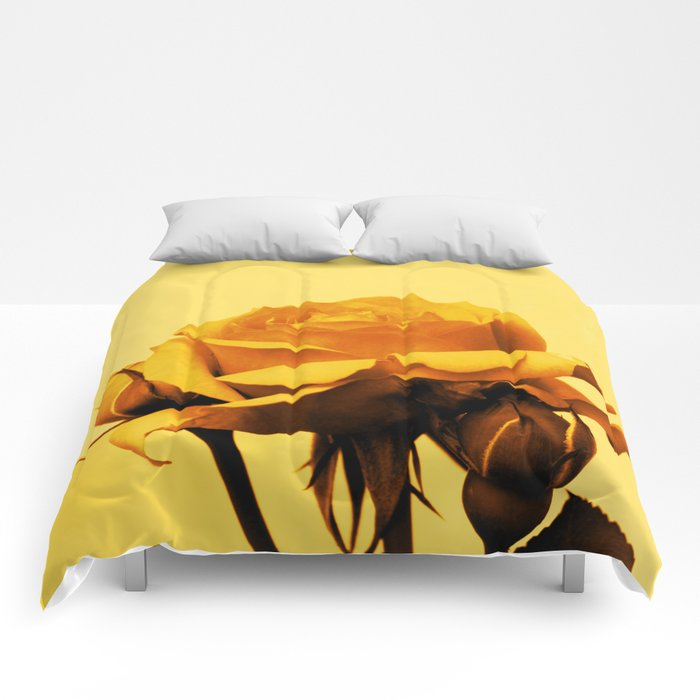 Vintage Yellow Rose and buds Comforters