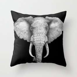 Elephant on black Throw Pillow
