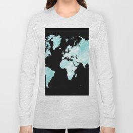 Design 72 world map aqua Long Sleeve T-shirt