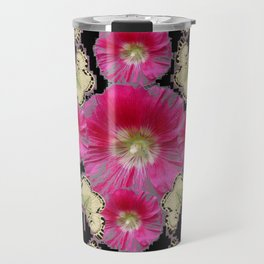 ABSTRACTED GREY & PINK HOLLYHOCK FLORAL BUTTERFLY PATTERN Travel Mug