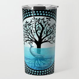 Oceanic Tree Of Life - Black Background Travel Mug