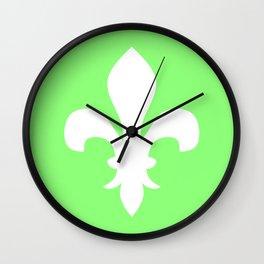 Fleur de Lis (White & Light Green) Wall Clock