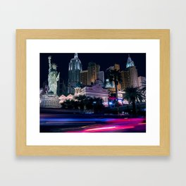 Light Streaks in Las Vegas, USA / Night City Series Framed Art Print