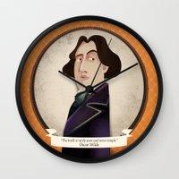 oscar wilde Wall Clocks featuring Oscar Wilde said... by Mrs Peggotty