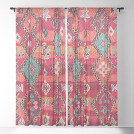 18 - Traditional Colored Epic Anthique Bohemian Moroccan Artwork Sheer Curtain