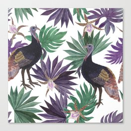 wild turkey and tropical leaves Canvas Print