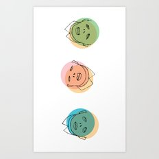 3 heads Art Print