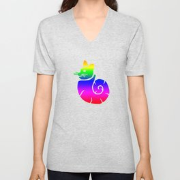Rainbow Snail Cat Unisex V-Neck
