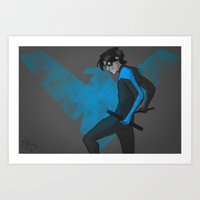 nightwing Art Prints featuring NightWing by 0samwhich