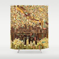 minneapolis Shower Curtains featuring minneapolis city skyline by Bekim ART
