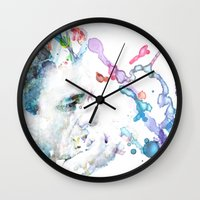 johnny cash Wall Clocks featuring Johnny Cash by Kaitlyn Wilcox