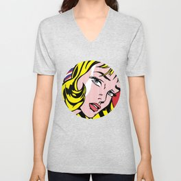 Girl with Hair Ribbon Unisex V-Neck