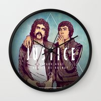 justice league Wall Clocks featuring Justice by Matt Chinn