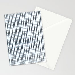 thin blue lines crosshatch Stationery Cards