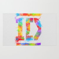 1d Area & Throw Rugs featuring 1D One Direction Watercolor by dan ron eli