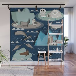 Arctic animals blue Wall Mural