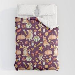 Welsh Corgi Dog Breed Fall Party -Cute Corgis Celebrate Autumn With Pumpkins Mushrooms Leaves - Dark Purple  Comforters