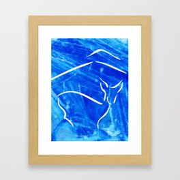 Winter mood with deer Framed Art Print