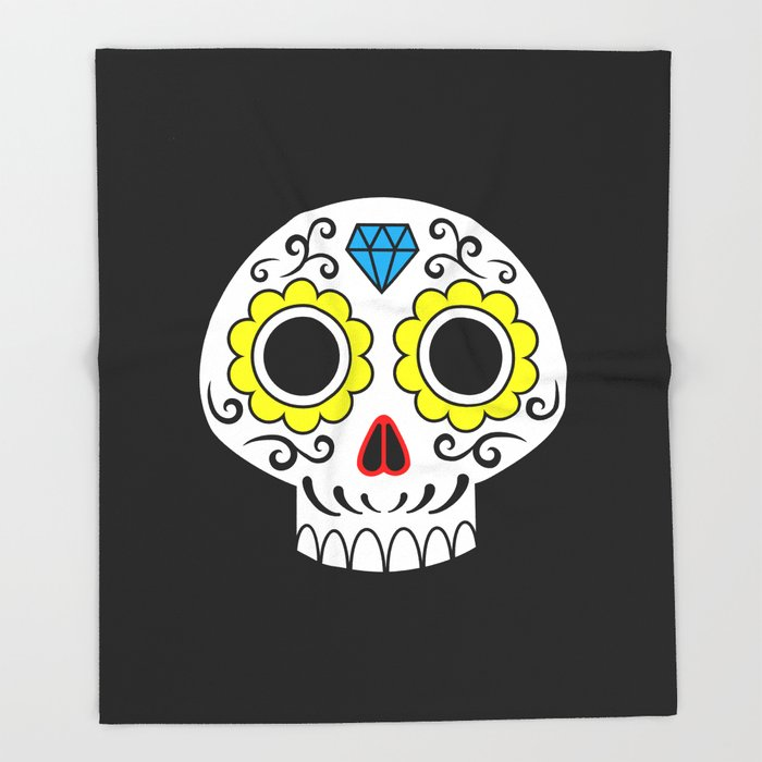 Sugar skull for a cake Throw Blanket