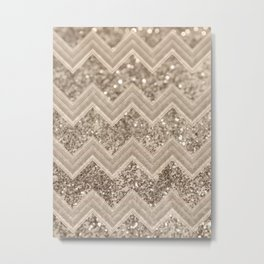 Sepia Glitter Chevron #1 #shiny #decor #art #society6 Metal Print