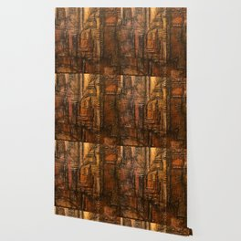 Rich Brown Bronze Heavy Textured Acrylic Painting Wallpaper