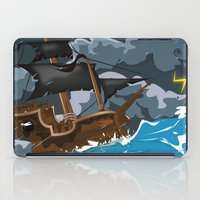 pirate ship iPad Cases featuring Pirate Ship in Stormy Ocean by Nick's Emporium Gallery