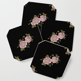Pink Roses Watercolor Painting Pattern Coaster