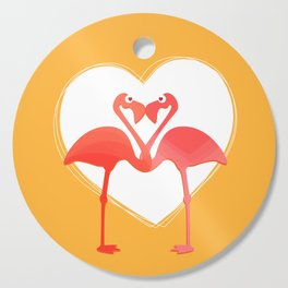 lovebirds - flamingos in love Cutting Board
