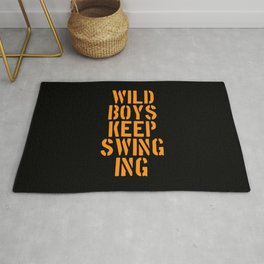 Duran Duran's Wild boys keep swinging. Music quote. Rug