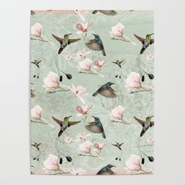 Vintage Watercolor hummingbird and Magnolia Flowers on mint Background Poster