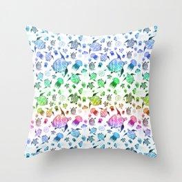 Ocean Life - Rainbow Colors Throw Pillow
