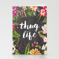 pink Stationery Cards featuring Thug Life by Text Guy