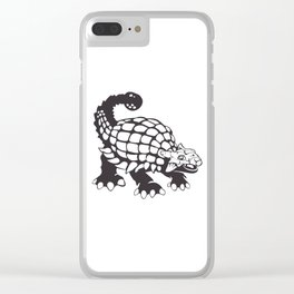Ankylosaurus Dinosaur Prehistoric Black and White Clear iPhone Case