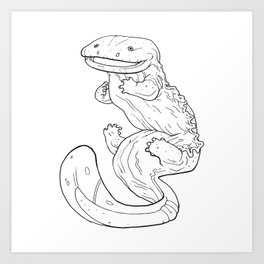 Eastern Hellbender Outline Art Print