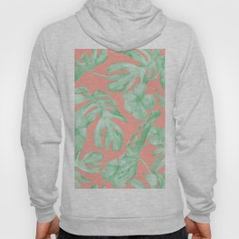 Tropical Palm Leaves Hibiscus Flowers Coral Green Hoody
