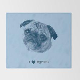 I love my dog - Pug, blue Throw Blanket