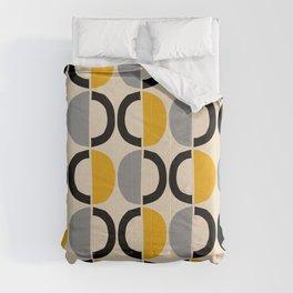Mid Century Modern Half Circle Pattern 547 Beige Black Gray and Yellow Comforters