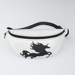 Simple Black Unicorn Fanny Pack