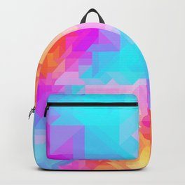 Bright Geometric Colorful Bold Abstract Pattern (Bubblegum Pink, Orange, Yellow, Cyan Blue) Backpack